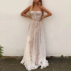 Embroidered Lace Maxi Dress